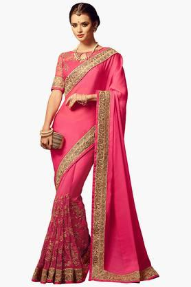 ISHIN Women Net With Chiffon Pallu Embroidered Saree
