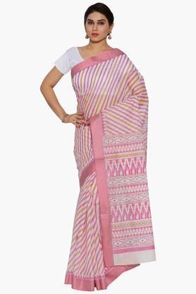JASHNWomen Stripe Print Cotton Saree