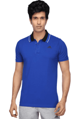 ADIDAS Mens Short Sleeves Slim Fit Polo Neck Solid T-Shirt