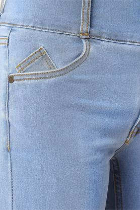Womens Skinny Fit High Rise Whiskered Effect Jeans