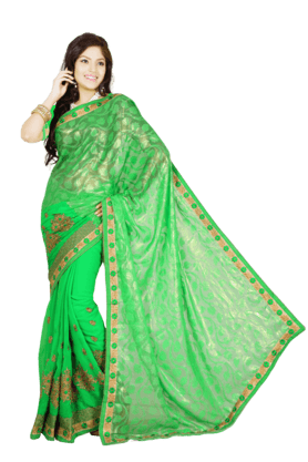 DEMARCA Womens Brasso Georgette Saree (Buy Any Demarca Product & Get A Pair Of Matching Earrings Free) - 200947045