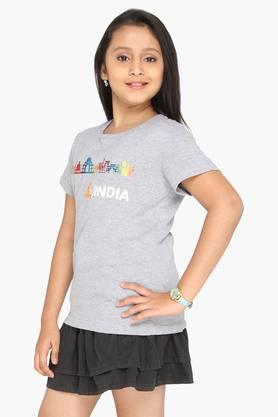 Girls Round Neck Indian Monuments Tshirt