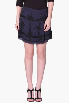 LABEL RITU KUMAR Womens Wrap Around Embellished Mini Skirts
