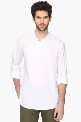 VETTORIO FRATINI Mens Mao Collar Solid Shirt  ...
