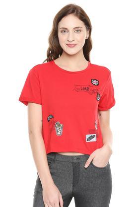 Womens Round Neck Patch Work T-Shirt