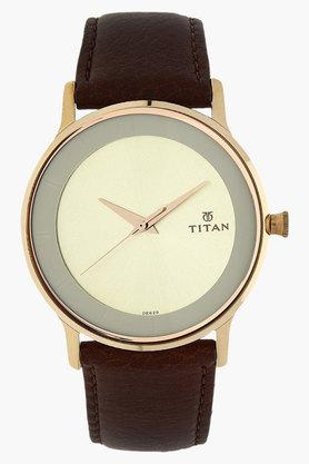 TITANMens Champagne Dial Leather Strap Watch