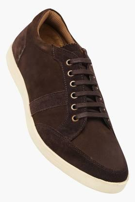 Mens Leather Lace Up Casual Sneakers