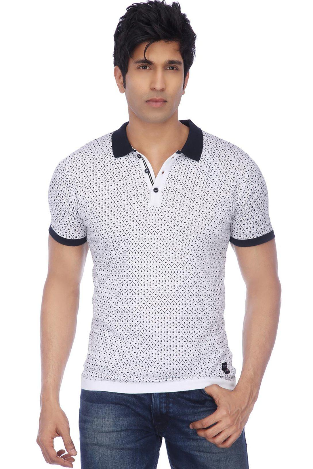 d22bde8ff8 Buy OCTAVE Octave-Mens Short Sleeves Slim Fit Print Polo T-Shirt   Shoppers  Stop