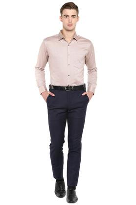 Mens Slim Collar Slub Formal Shirt
