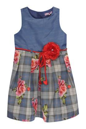 Girls Round Neck Floral Printed Pleated Dress