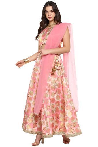 Womens Round Neck Embellished Ghaghra Choli and Dupatta Set