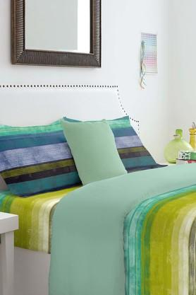 SPACES Cotton Stripe King Bedsheet With Pillow Cover