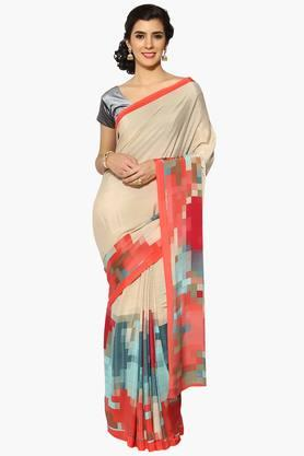 Women Stripe Color Blocking Crepe Saree