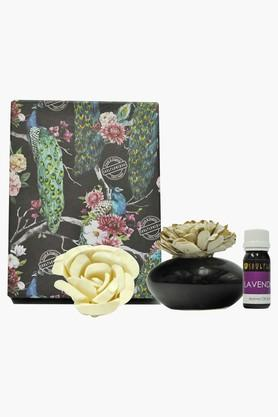 SOULFLOWER Round Ceramic Diffuser With Lavender Aroma Oil- 30 Ml