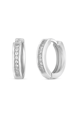 MAHIRhodium Plated Single Line Pave Earrings With CZ For Women ER1100622R