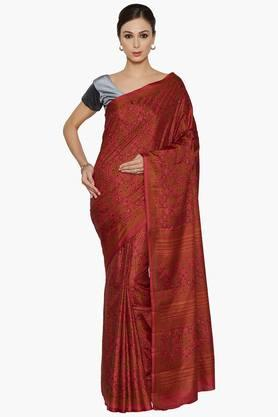 JASHN Women Botanic Print Art Silk Saree
