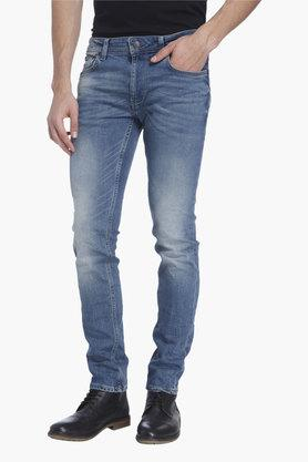 JACK AND JONES Mens 5 Pocket Slim Fit Heavy Wash Jeans (Tim Fit)