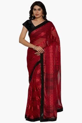JASHNWomen Indian Motif Printed Brasso Georgette Saree