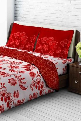 TANGERINETangy Orange Cotton King Bedsheet With 2 Pillow Covers - Red