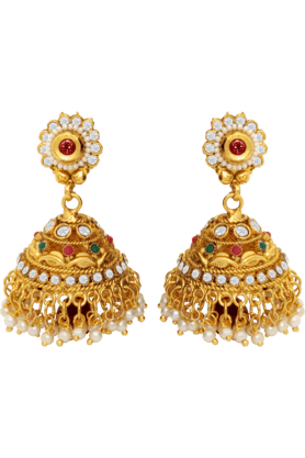 DONNA Traditional Ethnic Thumri Jhumki With Red Drop & Colored Crystal For Women By Donna ER30006G (Use Code FB20 To Get 20% Off On Purchase Of Rs.1800)
