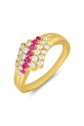 MAHI Mahi Gold Plated Yearning Love Finger Ring With Ruby For Women FR1100641G