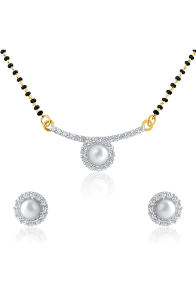 MAHIMahi Daily Wear Fashion Mangalsutra Set Of Brass Alloy With CZ For Women NL1101430G