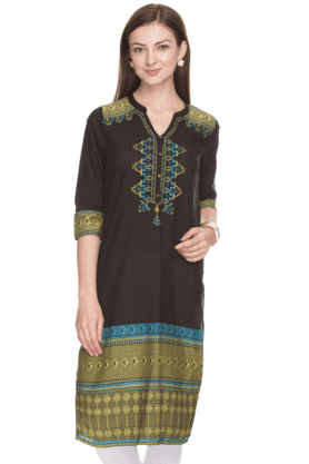 AURELIA Women Slim Fit Printed Kurta - 200758795