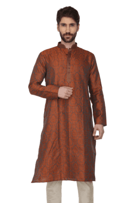 Mens Printed Regular Fit Kurta Pyjama Set