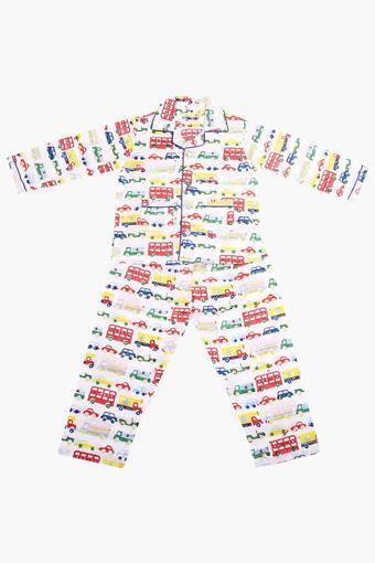 Unisex Collared Printed Night Suit