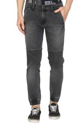 Mens 5 Pocket Whiskered Effect Bikers