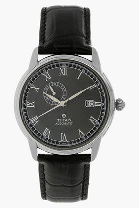 TITANMens Black Dial Leather Strap Watch - 200250378