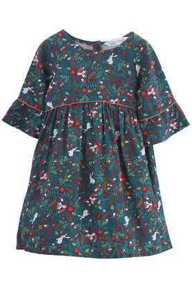 Girls Round Neck Printed Pleated Dress