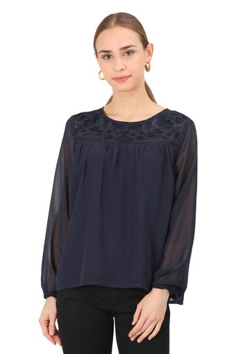 Womens Round Neck Solid Sheer Yoke Embroidered Top