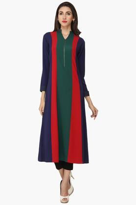 SOIEWomens Mandarin Neck Embroidered Tunic