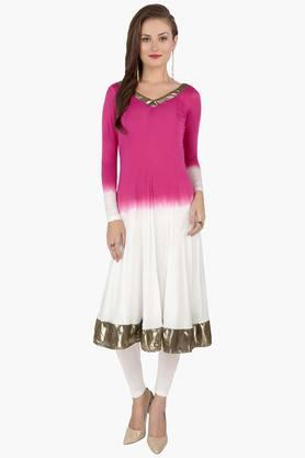 IRA SOLEIL Womens Gradient Kurta (Buy Any Ira Soleil Product And Get A Charms Bracelet Free)