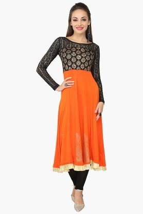 IRA SOLEILWomens Printed Anarkali Kurta (Buy Any Ira Soleil Product And Get A Charms Bracelet Free)
