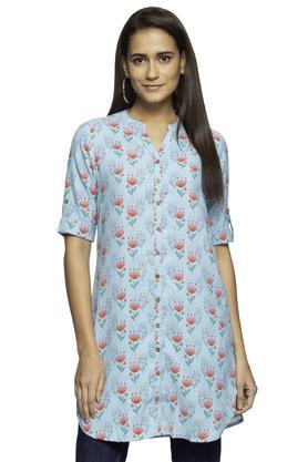 Womens Mandarin Collar Floral Printed Tunic