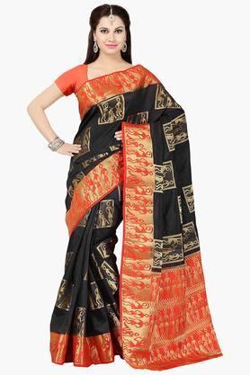 ISHINWomens Tussar Silk Brocade Saree