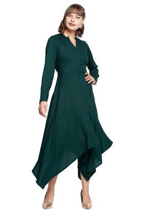 Womens A Line Fit Mandarin Collar Solid Asymmetrical Midi Dress