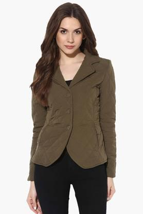 THE VANCA Womens Solid Quilted Notched Lapel Jacket - 201743809