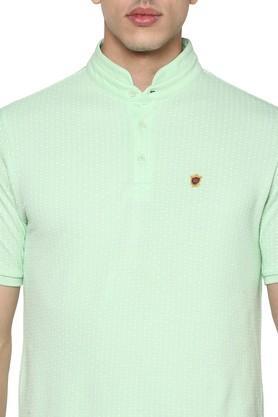 Mens Mandarin Collar Dot Pattern T-Shirt