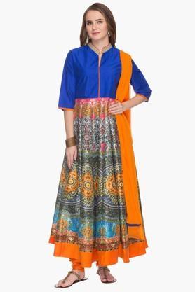 Womens Printed Anarkali Churidar Suit