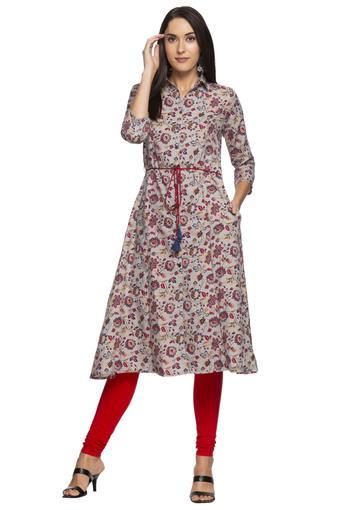 Womens Collared Floral Printed Shirt Kurta