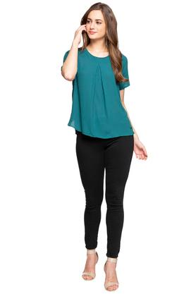 Womens Round Neck Pleated Front Solid Top