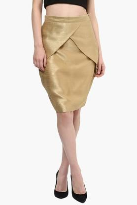 MISS CHASE Womens Solid Pencil Skirt