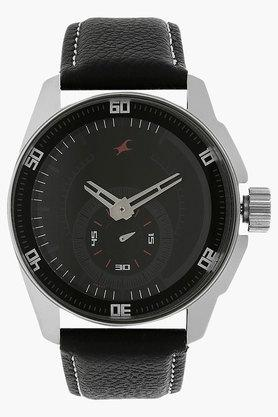 FASTRACKMens Black Dial Leather Strap Watch