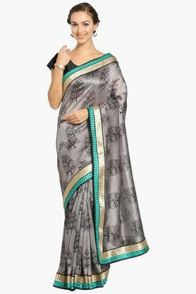Womens Georgette Thread Work Saree With Blouse Piece