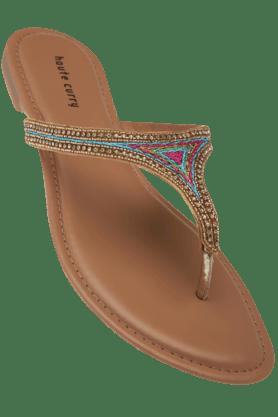 HAUTE CURRYWomens Fancy Slipon Flat Sandal - 9776805