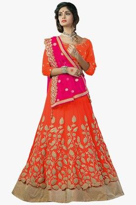 MAHOTSAV Womens Embroidered Semi Stitched Gota Lehenga Choli Set - 201754589