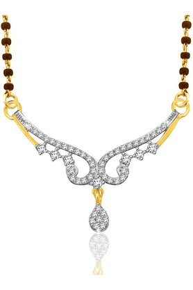 SPARKLES 18Kt Gold Mangalsutra With Diamond Pendant Along With Gold Plated Silver Chain And Black - 7503655_9999